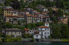 Lake Como 33. Lake Como has beautiful housing and estates surrounded by lush forrest and mountains Stock Photo