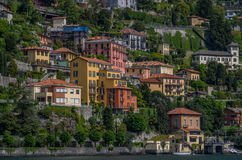 Lake Como 32. Lake Como has beautiful housing and estates surrounded by lush forrest and mountains Stock Photos