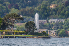 Lake Como 5. Lake Como in Italy beautiful scenery surrounded by snow capped mountains and lush Forrest Royalty Free Stock Image