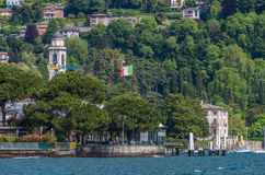 Lake Como 37. Lake Como in Italy beautiful scenery surrounded by snow capped mountains and lush Forrest Royalty Free Stock Photo