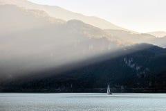 LAKE COMO, ITALY/EUROPE - OCTOBER 29 : Sailing on Lake Como Lecco Italy on October 29, 2010 stock photo