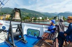 Lake Como (Italy) and family on ship Royalty Free Stock Photos