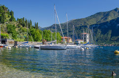 Lake Como Italy. A little italian harbor in Bellagio at lake Como royalty free stock photos