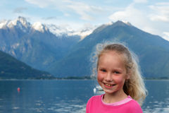 Lake Como (Italy) view and small girl Royalty Free Stock Photos