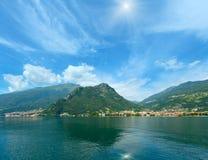Lake Como Italy sunshiny view from ship. Lake Como Italy summer sunshiny view from ship board Royalty Free Stock Photos