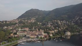 Lake Como Italy top view. Villa Desta stock video footage