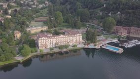 Lake Como Italy top view. Villa Desta stock footage