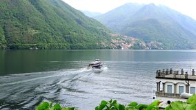 Lake como landscape with ferry stock video footage