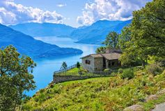 Lake Como, small house on Italian Lakes Stock Photo