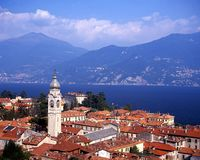 Lake Como, Menaggio, Italy. View over the town rooftops to Lake Como, Menaggio, Lombardy, Italy, Europe Stock Images