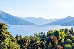 Lake Como and mountains stock photography