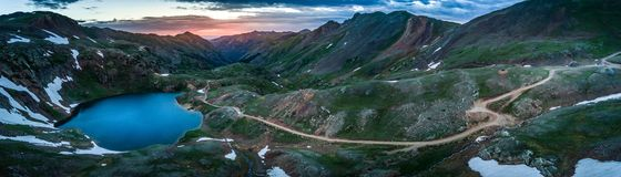 Lake Como- Poughkeepsie Pass, San Juan Mountains off Engineer Pa. Colorado, USA Lake Como Panorama after Sunset - Poughkeepsie Pass, San Juan Mountains off stock images