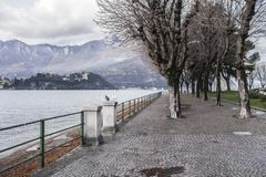 Lake Como and promenade city of Lecco, Italy.  royalty free stock image