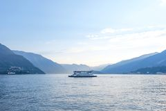 Lake Como with ship on water stock photos