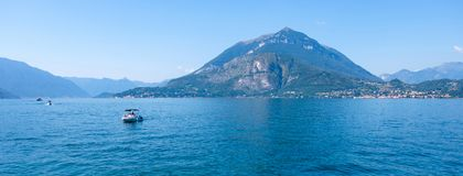 Lake Como with ships on water royalty free stock image