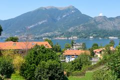 Lake Como from shore royalty free stock photography