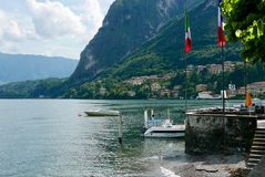 Lake Como waterfront. Lake como shoreline view from Menaggio. The lower apps running steeply into the lake Royalty Free Stock Image
