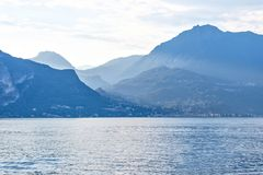 Lake Como at sunset royalty free stock photo