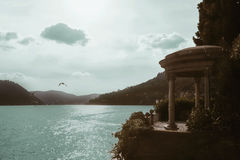 Lake Como terrace. Sunny day at Como lake in province of Lombardia Italy Stock Photography
