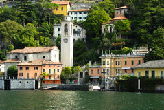 Lake Como Tower. Image of the Lake Como shoreline including the bell tower royalty free stock image