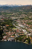 Lake Como with the town and the Apls Royalty Free Stock Image