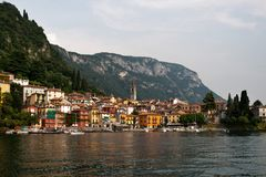 Lake Como Varena. Most beautiful Italian lake Como view on city Varenna royalty free stock photos