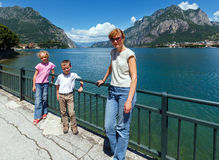 Summer Lake Como view (Italy) and family Royalty Free Stock Photos