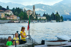 Summer Lake Como view (Italy) and family Stock Image