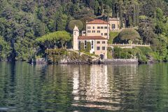 Lake of Como at Villa Balbianello. Beautiful villages on the Lago di Como: Villa Balbianello, located in the north of Italy.nPhoto Taken On: April, 2017 stock photo