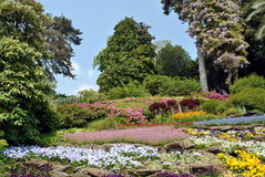 Lake Como - Villa Carlotta. Lake Como, Villa Carlotta. Magnificent park with fountains, statues, flower beds stock photos