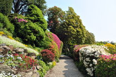 Lake Como - Villa Carlotta. Lake Como, Villa Carlotta. Magnificent park with fountains, statues, flower beds royalty free stock photos