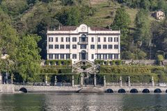 Lake of Como at Villa Carlotta. Beautiful villages on the Lago di Como: Villa Carlotta, located in the north of Italy. Photo Taken On: April, 2017 royalty free stock images
