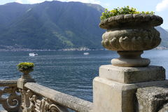 Lake Como from Villa del Balbianello. Panoramic view from the balcony of Villa del Balbianello on Lake Como stock photos