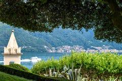 Lake Como from Villa del Balbianello view. Mountains and cities.. Lenno, Italy stock photo