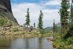 The lake is compassed by a ring of mountains. Photo of the mountain lake stock images