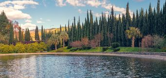 The lake from Conception garden, Malaga, Spain. The lake from Conception garden, jardin la concepcion in Malaga, Spain royalty free stock image