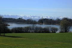 Lake of Constance. With view to the alps Royalty Free Stock Photos