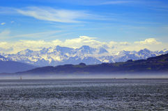 Lake of Constance. With view to the alps Royalty Free Stock Photo