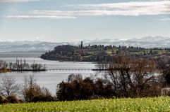 Lake Constance with Alps royalty free stock photo
