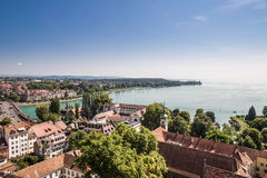 Lake Constance, Germany - Switzerland. Lake Constance seen from the church tower, at the boarder with Switzerland Stock Photos