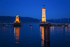 Lake Constance, Lindau harbor entrance, lighthouse Royalty Free Stock Photography