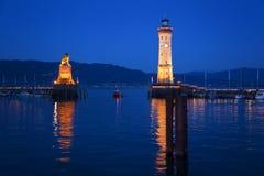 Lake Constance, Lindau harbor entrance, lighthouse royalty free stock photography