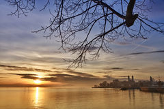 Lake Constance with Schlosskirche (church), German. Bodensee (Lake Constance) with Schlosskirche (church) of Friedrichshafen at sunset, Germany Stock Photos