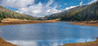 Lake at the Continental Divide in the Rocky Mountain National Park. Visiting Rocky Mountain National Park, Colorado in Late September, 2018 royalty free stock photos