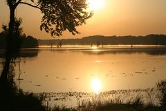 Lake Conway, Arkansas, USA. Sunrise over the Lake Conway Stock Image