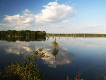 Lake Conway, Arkansas, USA. Lake Conway, reflection,spring, sky Royalty Free Stock Photo