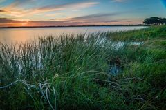Lake Corangamite at sunset in Victoria state in Australia Royalty Free Stock Image