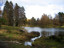 Lake and Country side. Lake and Farm land, Tarn Hows, England stock photography