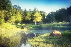 Lake in countryside royalty free stock photos