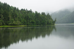 Lake covered with fog in SHANGRI-LA Royalty Free Stock Images